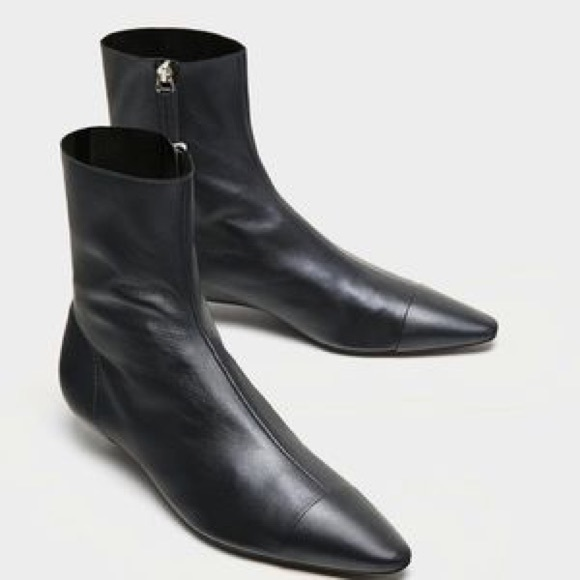 Zara Botin Leather Ankle Boots